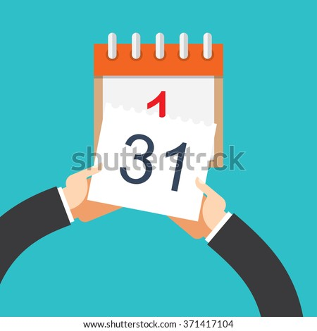 Flat background with hand and calendar. - stock vector