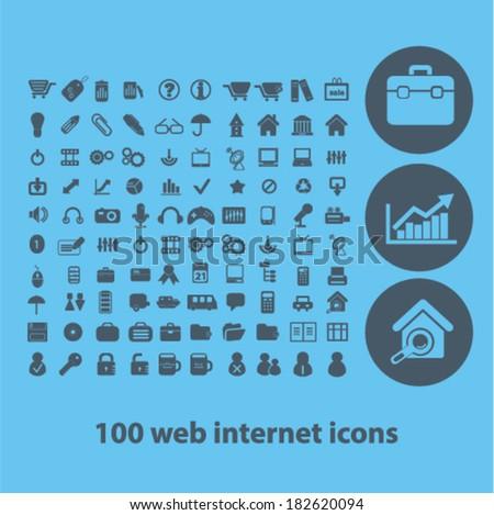 100 flat business, website, internet icons set, vector - stock vector