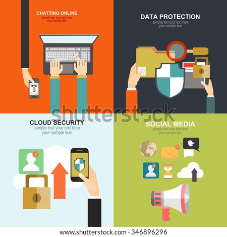 Flat cloud computing background memory information stock vector memory and information transfer security and protection cloud service freerunsca Gallery