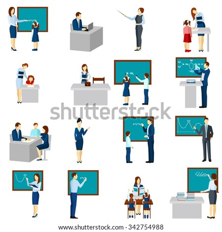 Flat color  icons set with Teacher and pupils in classroom isolated vector illustration - stock vector
