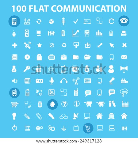 100 flat communication, connection, infographics, computer icons, signs, illustrations set, vector - stock vector