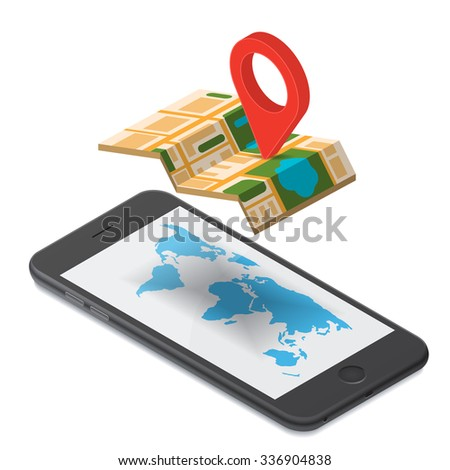 Flat 3d isometric mobile GPS navigation maps infographic concept illustration. Smartphone with digital  paper map with marker, world map silhouette.  Isolated on  white background - stock vector