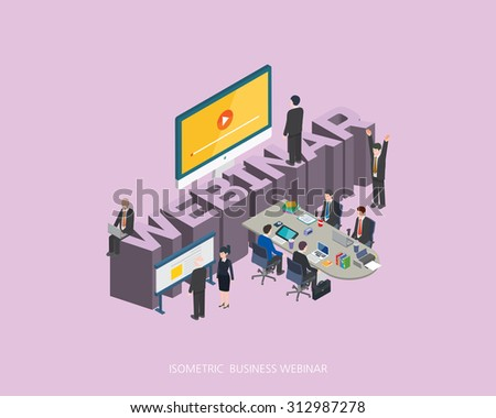 Flat 3d isometric vector illustration webinar concept design, Abstract urban modern style, high quality business series.  - stock vector