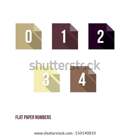 0 1 2 3 4 - Flat Design Paper Numbers Buttons - Vector Illustration