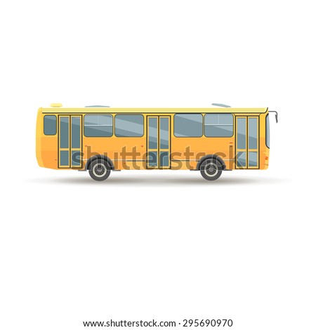 flat design public transport vehicle city bus, side view, isolated - stock vector