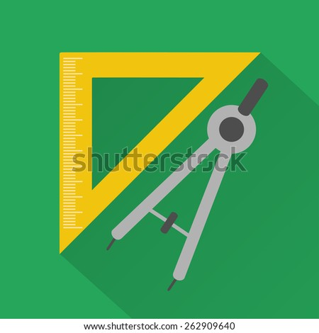 Flat design style modern vector illustration,ruler and compass - stock vector