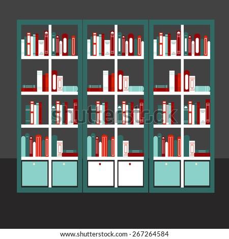 Flat design vector illustration of flat bookcase full of different books - stock vector