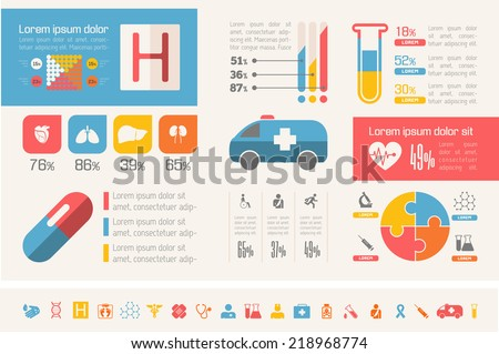 Flat design vector medical infographic. Infographic template for medical presentation design. Infographic Includes vector elements: diagrams, charts, bars, medical icon set, infographic metaphors.