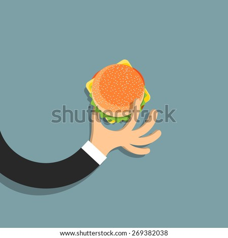 Flat hand with hamburger in cartoon style. Vector EPS10 - stock vector
