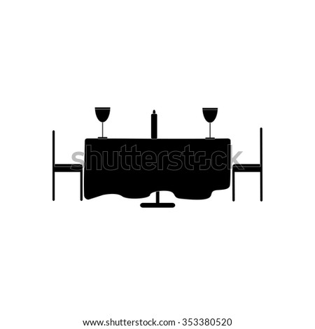 flat icon in black and white style romantic dinner  - stock vector