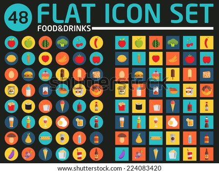 48 flat icon set. Food and drinks. Vector. - stock vector