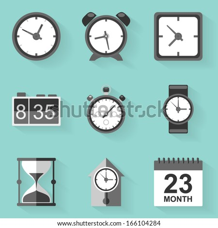 Flat icon set. Time. Clock. White style - stock vector