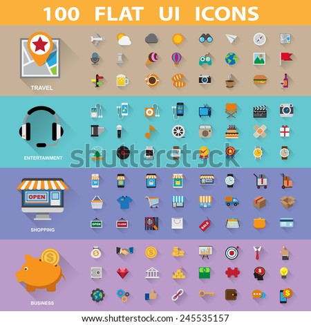 100 flat icons collection.Illustration eps10