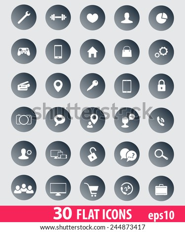 30 flat icons for web, apps development vector illustration, eps10, easy to edit