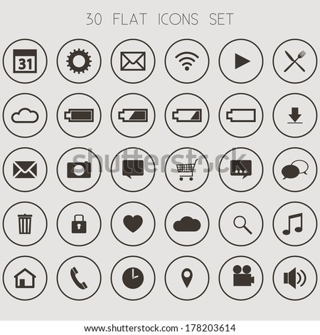 30 Flat Icons on Light Background- Web, Mobile, App - vector EPS10