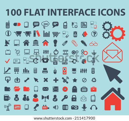 100 flat interface software black isolated icons, signs, silhouettes, illustrations set, vector