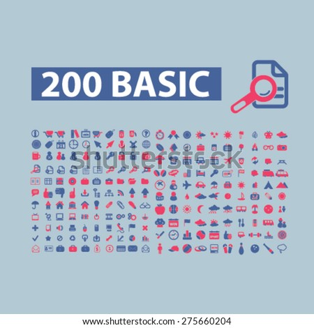 200 flat internet, website, page, business, commerce, communication icons, signs. illustrations set, vector - stock vector