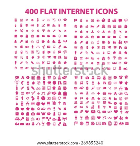 400 flat media, business, internet, holidays, travel, communication isolated icons, signs, symbols, illustrations web design template concept set on white background for website, application - stock vector