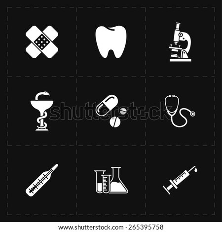 9 flat medicine icons - stock vector