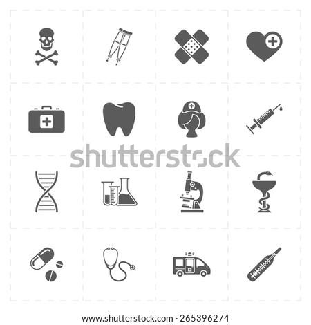 16 flat medicine icons - stock vector