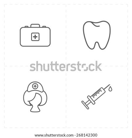 4 flat medicine icons - stock vector