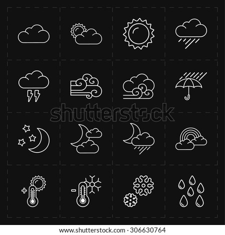 16 flat modern weather icons - stock vector