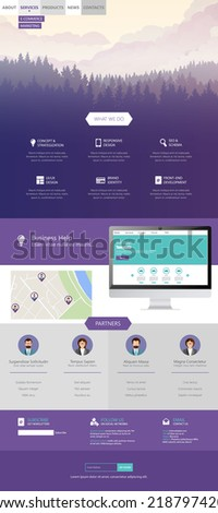 Flat Style One Page Website Template Vector Eps 10  - stock vector