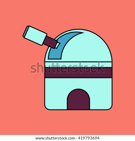 flat vector icon design collection  telescope station - stock vector