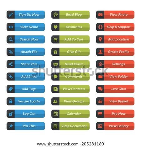 30 Flat web button set - stock vector