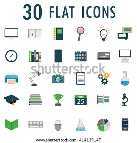 30 flat  web design objects, business, office and scientific items icons. Vector