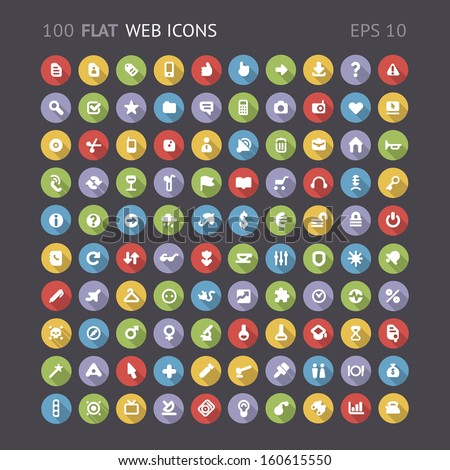 100 Flat web interface icons. Vector eps10 contains objects with transparency. - stock vector