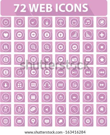72 Flat Website Icons,Pink version,vector - stock vector