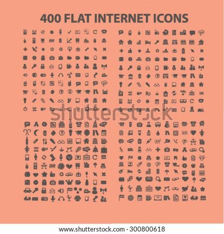 400 flat website, internet, business, media, communication, travel, recreation icons set, vector - stock vector
