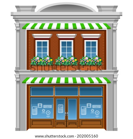 2 floor house with flowers under windows. Cartoon vector style eps 10.