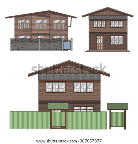 2 Floor  house, Wooden House Illustrator Part 2 A house made by wood located mostly in Low-rise Community of Thailand