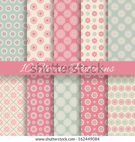 10 Floral different vector seamless patterns (tiling). Pink and blue shabby color. Endless texture can be used for printing onto fabric and paper or scrap booking. Flower abstract shape. - stock vector