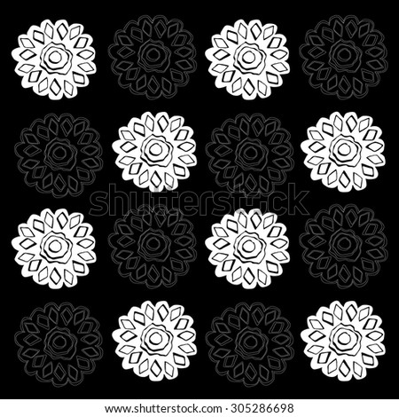 Floral fantasy seamless checkerboard pattern for textile, background, wallpaper, card, invitation, poster, cover, label, sticker, calendar - stock vector