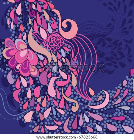 floral pattern in cartoon style - stock vector