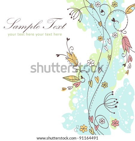Floral seamless background with twirls and curves