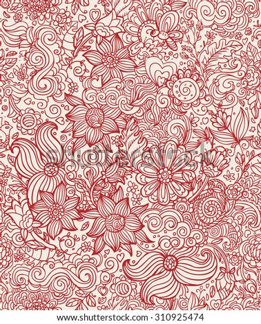 Floral seamless pattern. Vector background illustration. Doodle hand drawing.