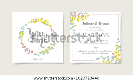 Floral Wedding Invitation Card Template Translation Stock Vector ...
