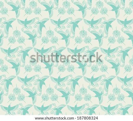flower and hummingbird, seamless pattern - stock vector