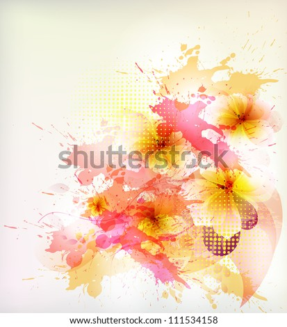 flower in  colorful ink splattered background - stock vector