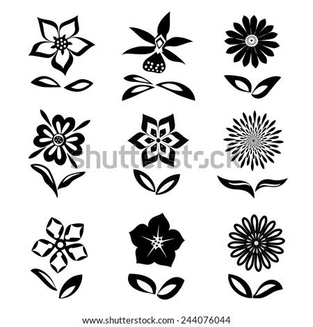 9 Flower set. Black silhouettes on white background.  Isolated symbols of flowers and leaves. Vector - stock vector