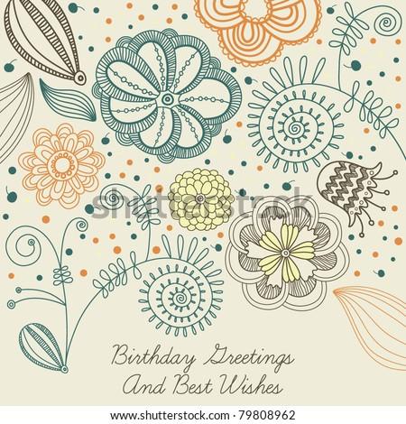 flowers birthday card design background  in vector - stock vector