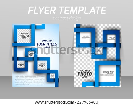 Flyer template with abstract spiral in square style - stock vector