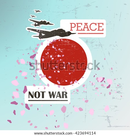 Flying bombers are dropping petals on the background with japan flag. Symbol of peace. Stop nuclear bomb. Main colours - blue, red, black. Has a texture. - stock vector