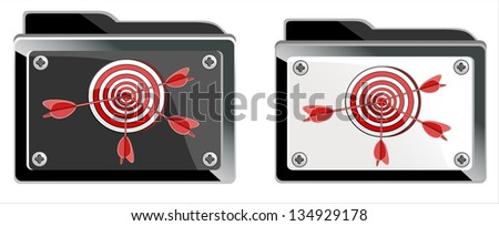 folder and Dart isolated on  white background - stock vector