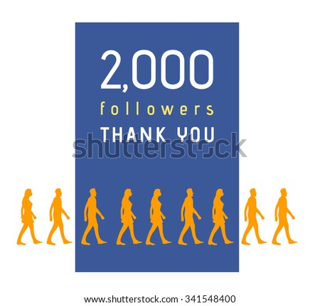 2000 followers milestone with people line - stock vector