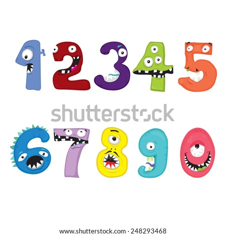 Font, symbols, numbers, isolated on white background. Monsters. - stock vector